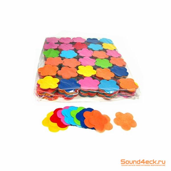 Бумажное конфетти Цветы 4,1см Мульти