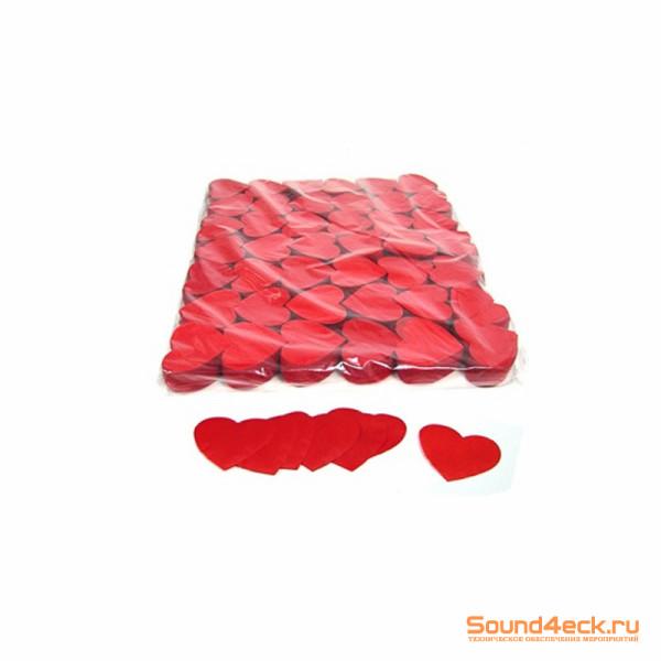 Бумажное конфетти Сердца 4,1см Красный