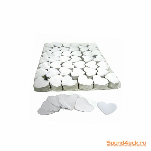 Бумажное конфетти Сердца 4,1см Белый