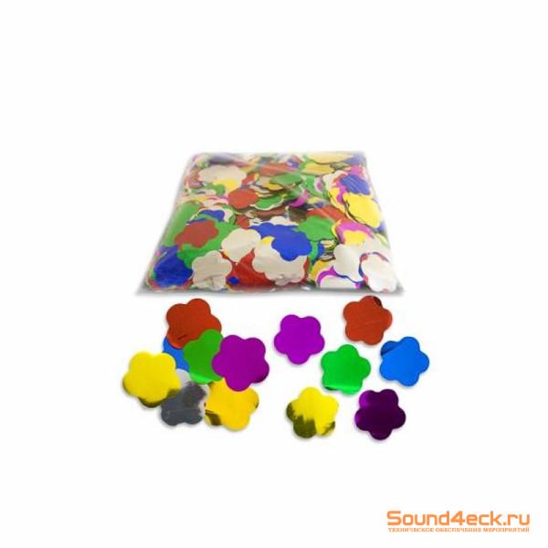 Металлизированное конфетти Цветы 4,1см Мульти