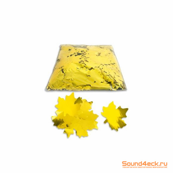 Металлизированное конфетти Клен 5см Золото