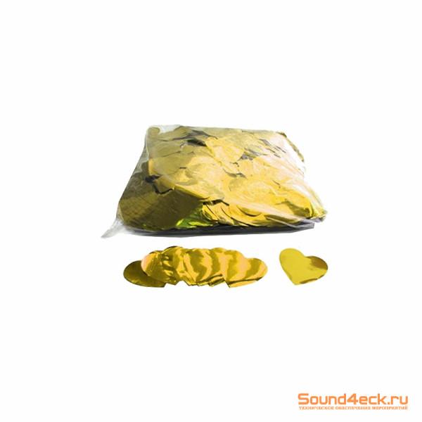 Металлизированное конфетти Сердца 4,1см Золото